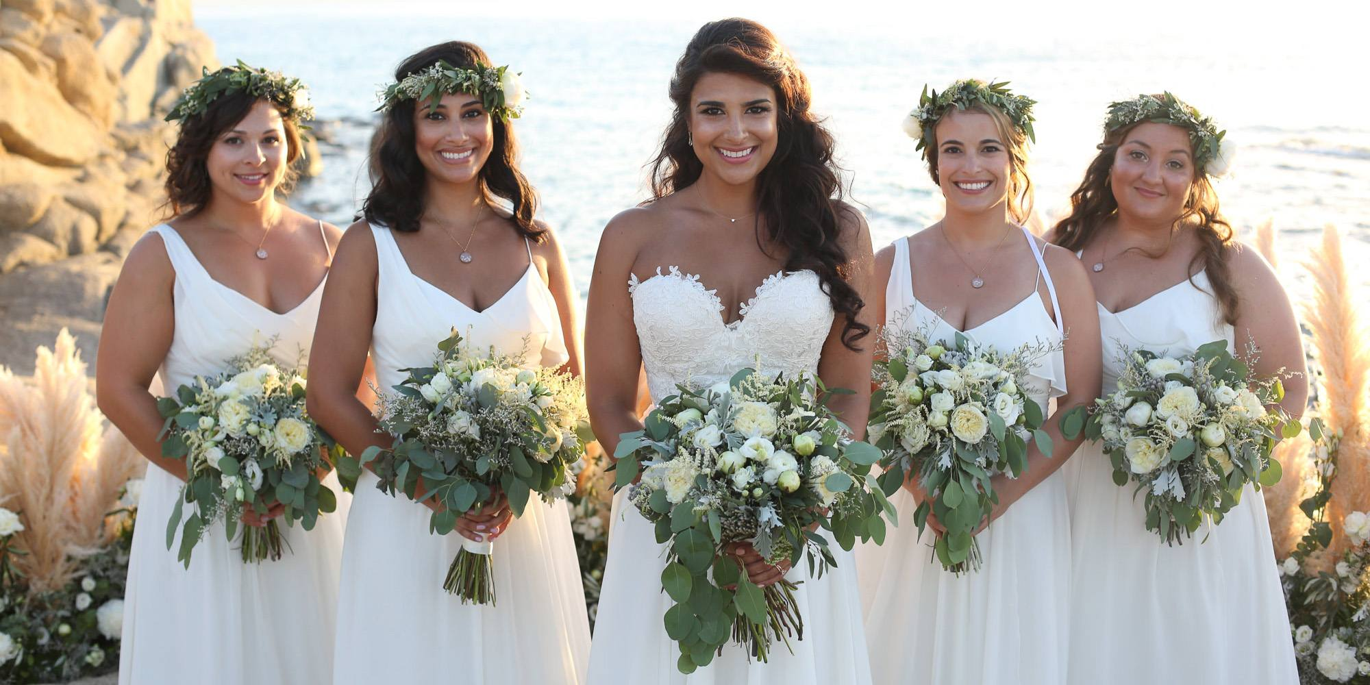 White bride and bridesmaids
