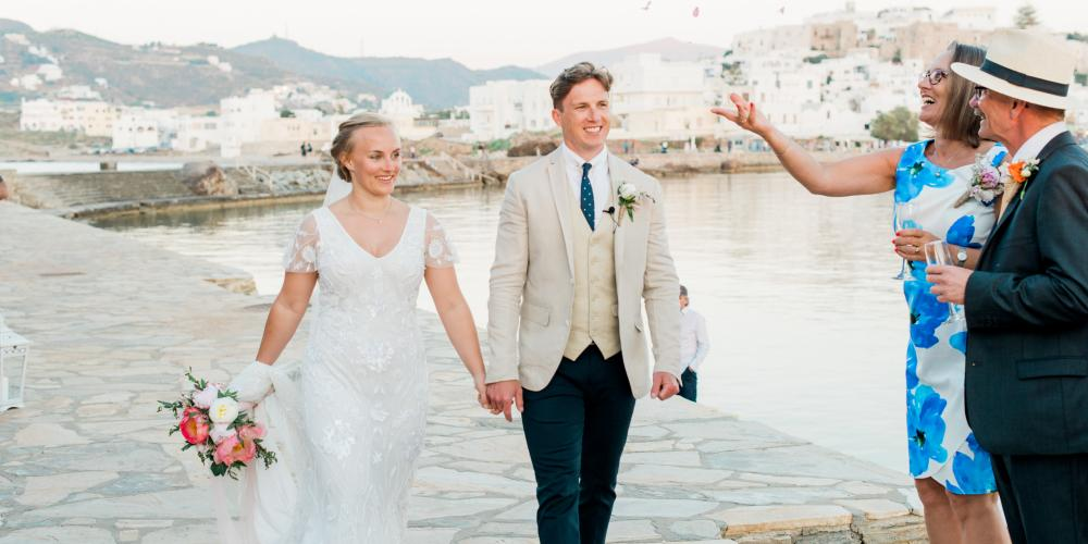Dominic & Hazel: A family and friends English Wedding Portara Naxos